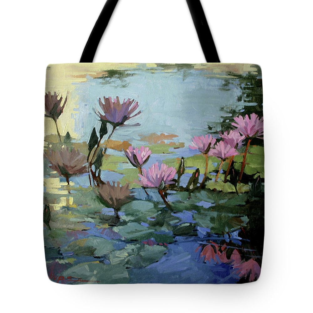 Floral Tote Bag featuring the painting Times Between - Water Lilies by Betty Jean Billups
