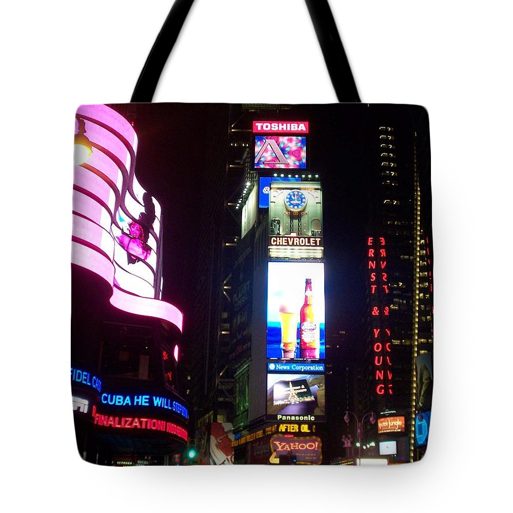 Times Square Tote Bag featuring the photograph Times Square 1 by Anita Burgermeister