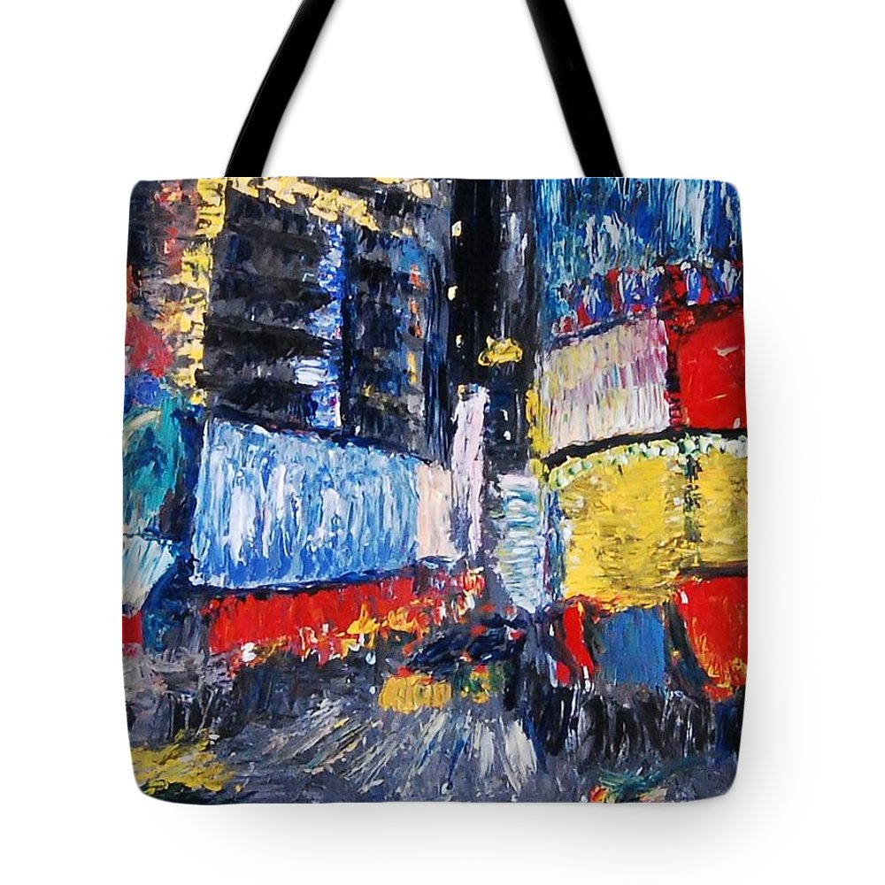 Nyc Tote Bag featuring the painting Times Square Abstracted by Lauren Luna
