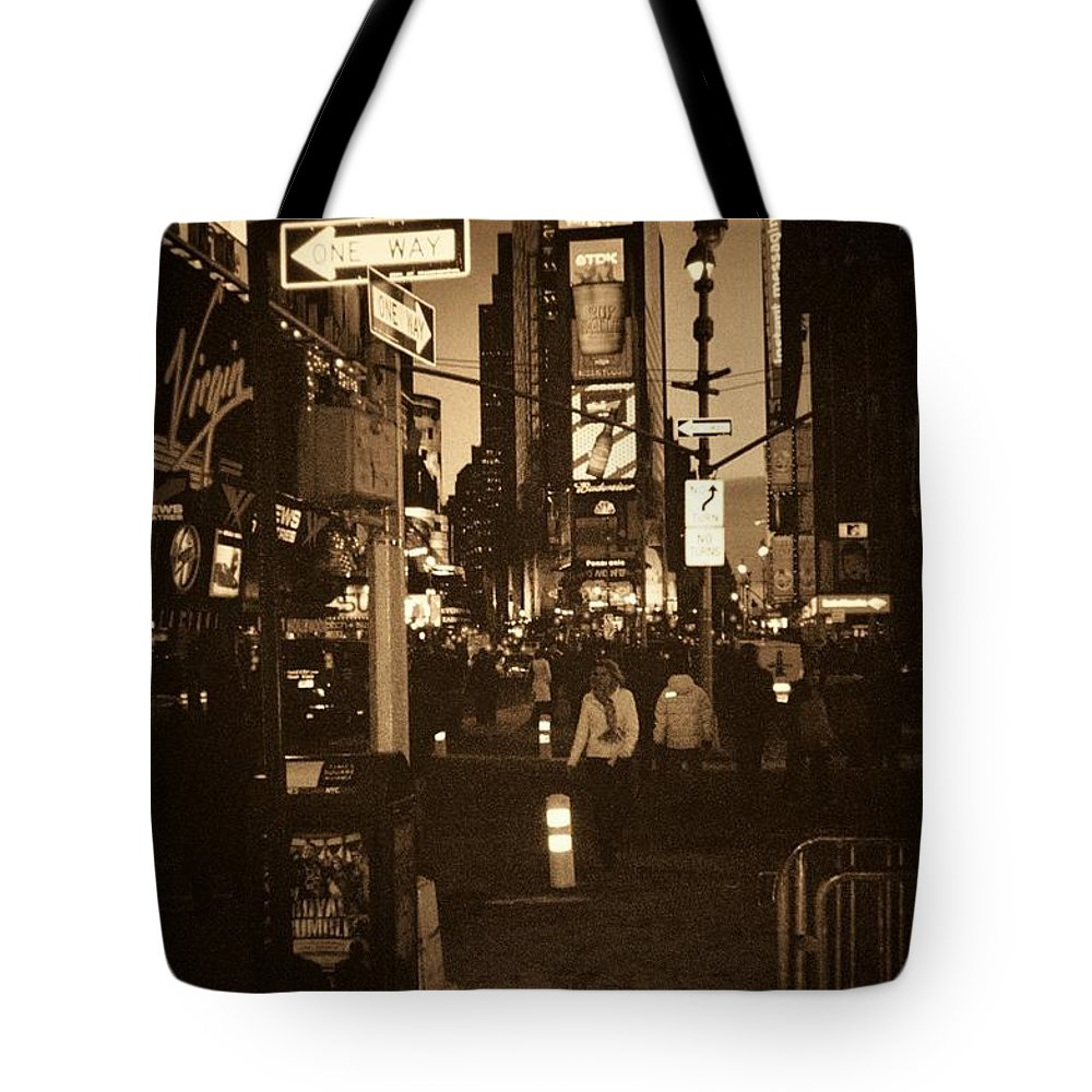 New York Tote Bag featuring the photograph Times Square by Debbi Granruth