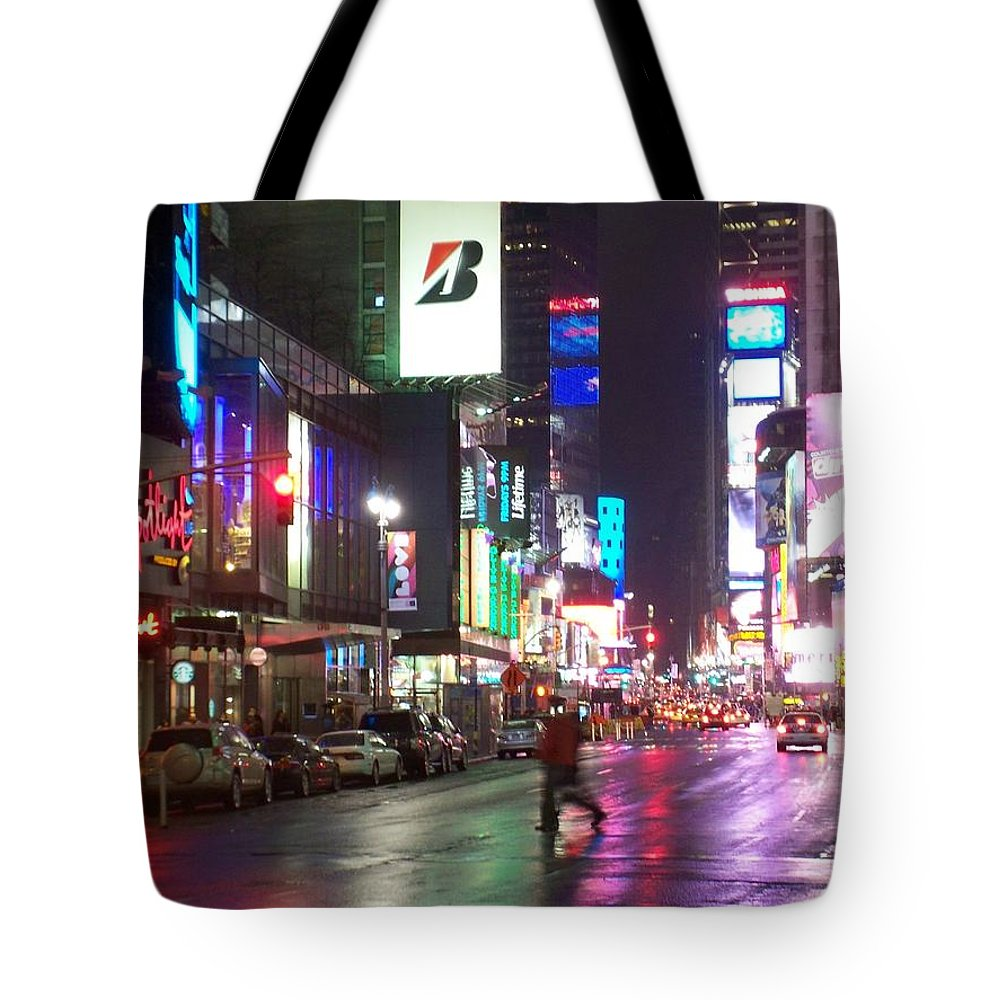 Times Square Tote Bag featuring the photograph Times Square In The Rain 2 by Anita Burgermeister