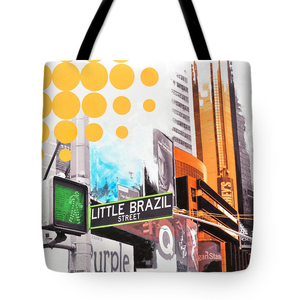 Ny Tote Bag featuring the painting Times Square Little Brazil by Jean Pierre Rousselet