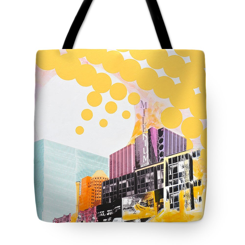 Ny Tote Bag featuring the painting Times Square Milenium Hotel by Jean Pierre Rousselet