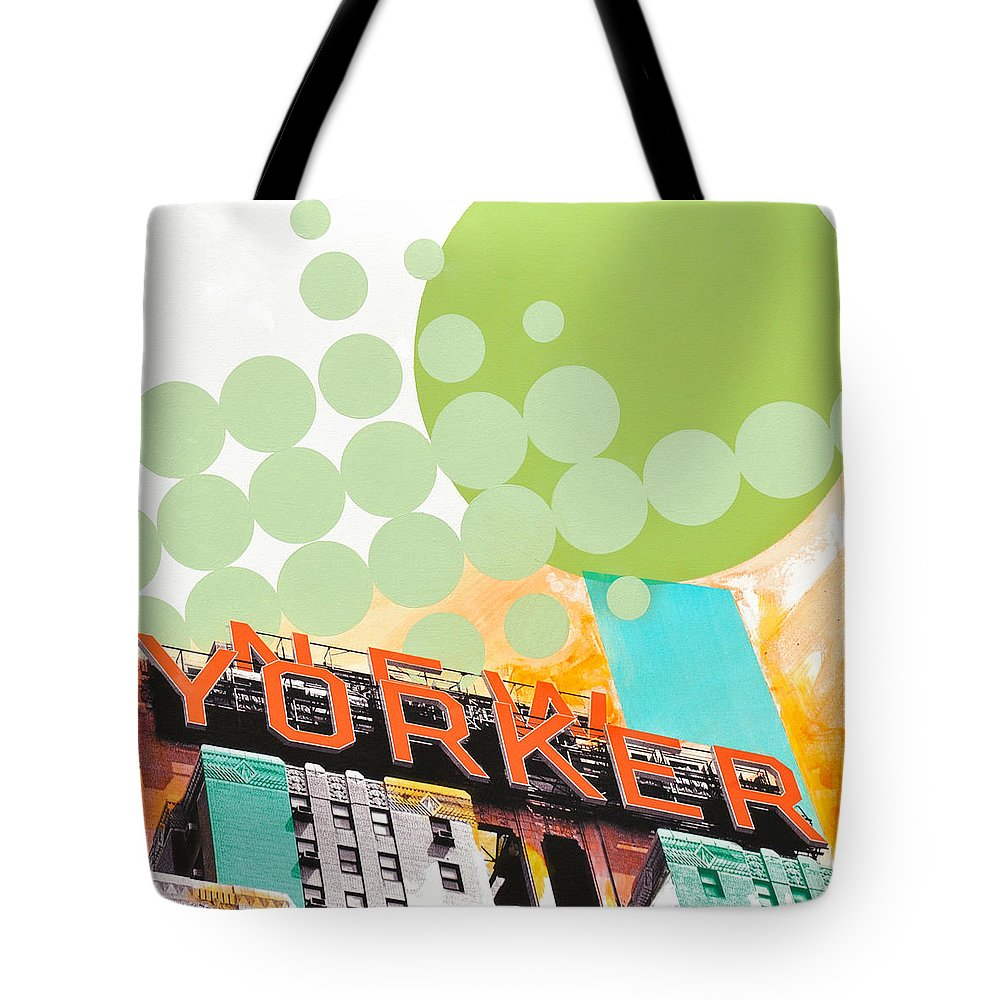 Ny Tote Bag featuring the painting Times Square New Yorker by Jean Pierre Rousselet