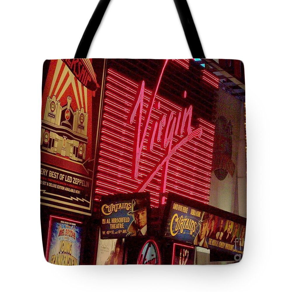 Times Square Tote Bag featuring the photograph Times Square Night by Debbi Granruth