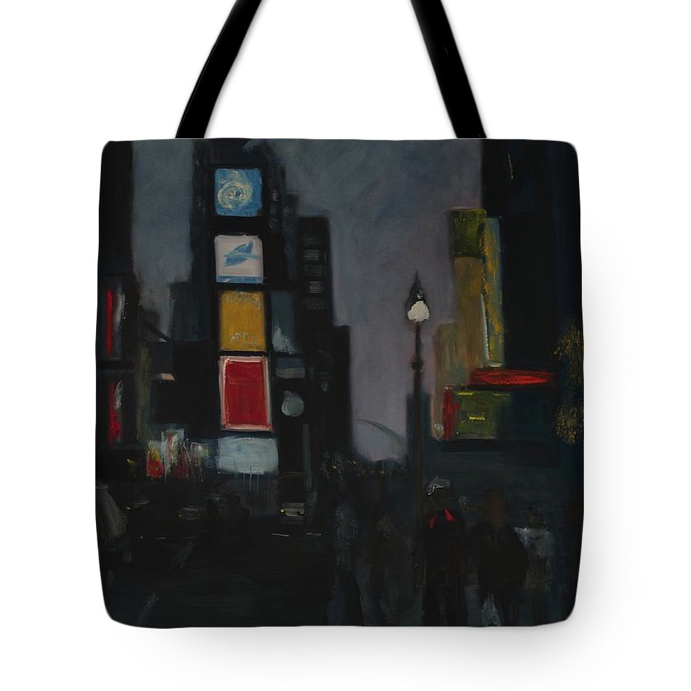 Cityscape Tote Bag featuring the painting Times Square Night by Gail Eisenfeld