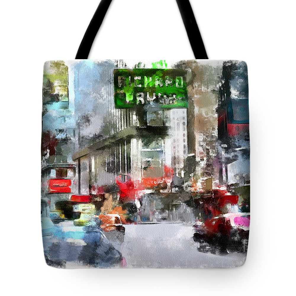 Square Tote Bag featuring the drawing Times Square by Sergey Lukashin