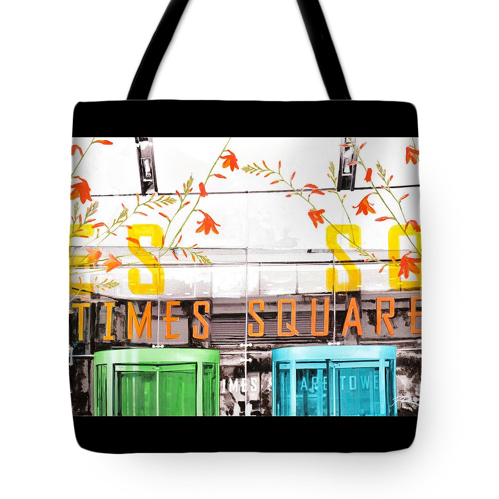 Ny Tote Bag featuring the painting Times Square Tower by Jean Pierre Rousselet