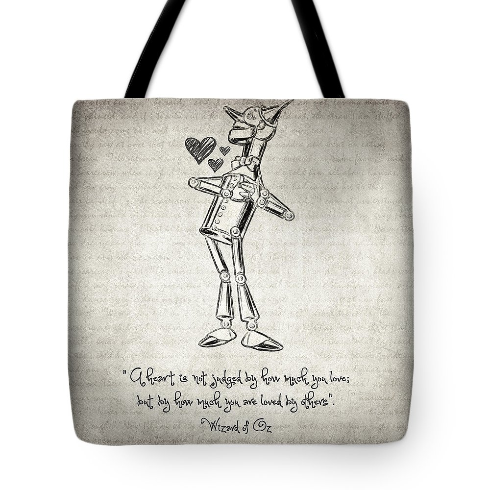 The Wonderful Wizard Of Oz Tote Bag Featuring The Drawing Tin Woodman    Wizard Of Oz