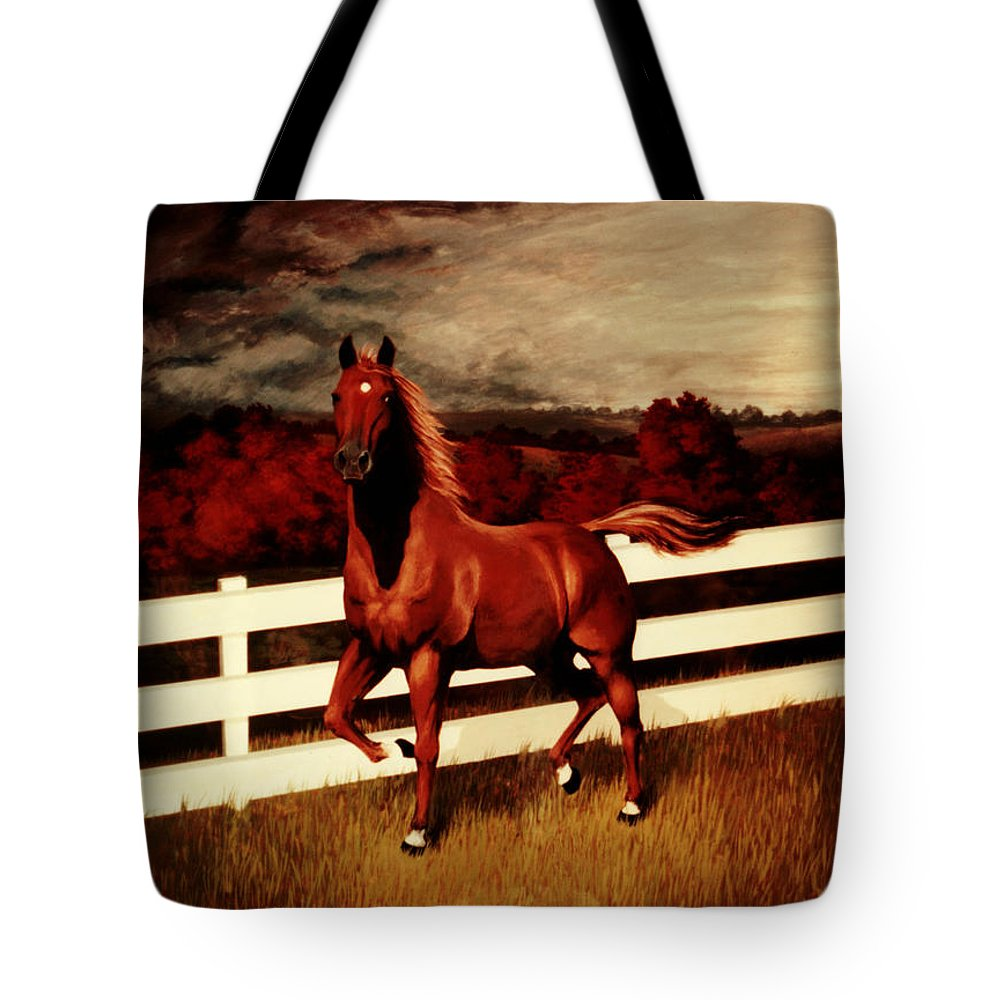 Landscape Tote Bag featuring the painting Tink by Rachel Christine Nowicki