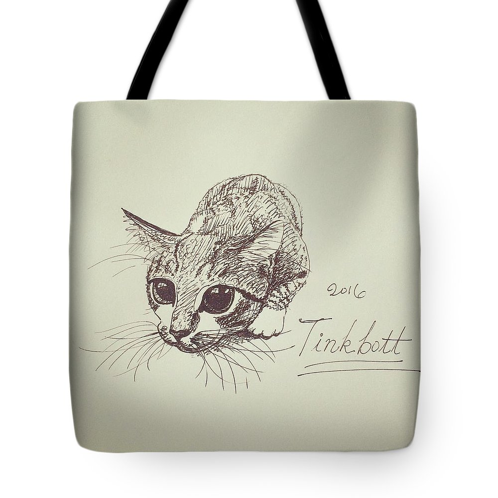 Cat Tote Bag featuring the drawing Tinkbott by Pookie Pet Portraits