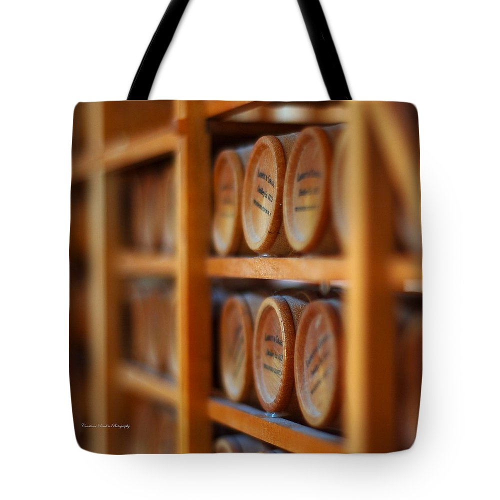 Bourbon Tote Bag featuring the photograph Tiny Barrels by Constance Sanders
