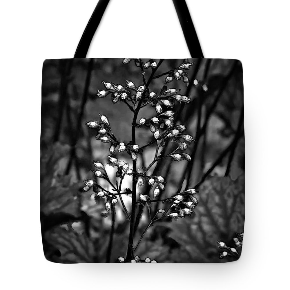 Flower Tote Bag featuring the photograph Tiny Dancer Bw by Steve Harrington