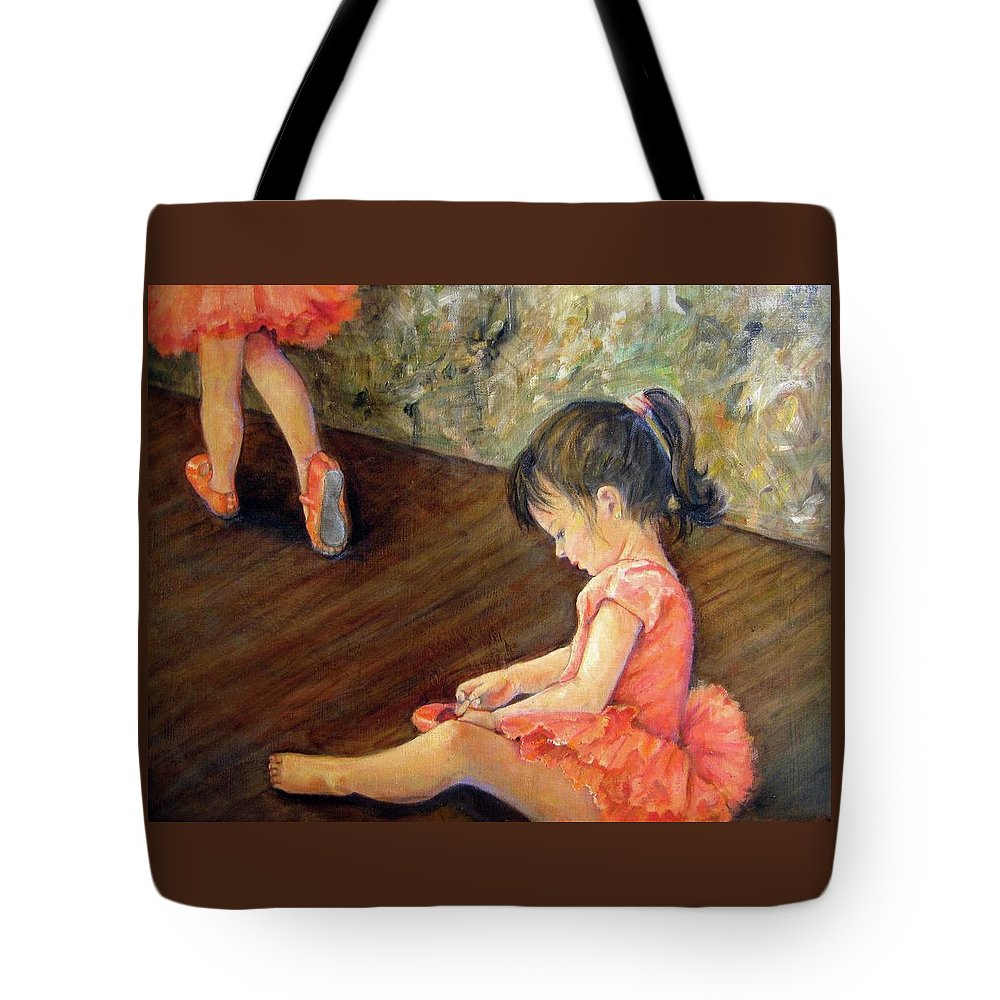 Human Tote Bag featuring the painting Tiny Dancer by Donna Tucker