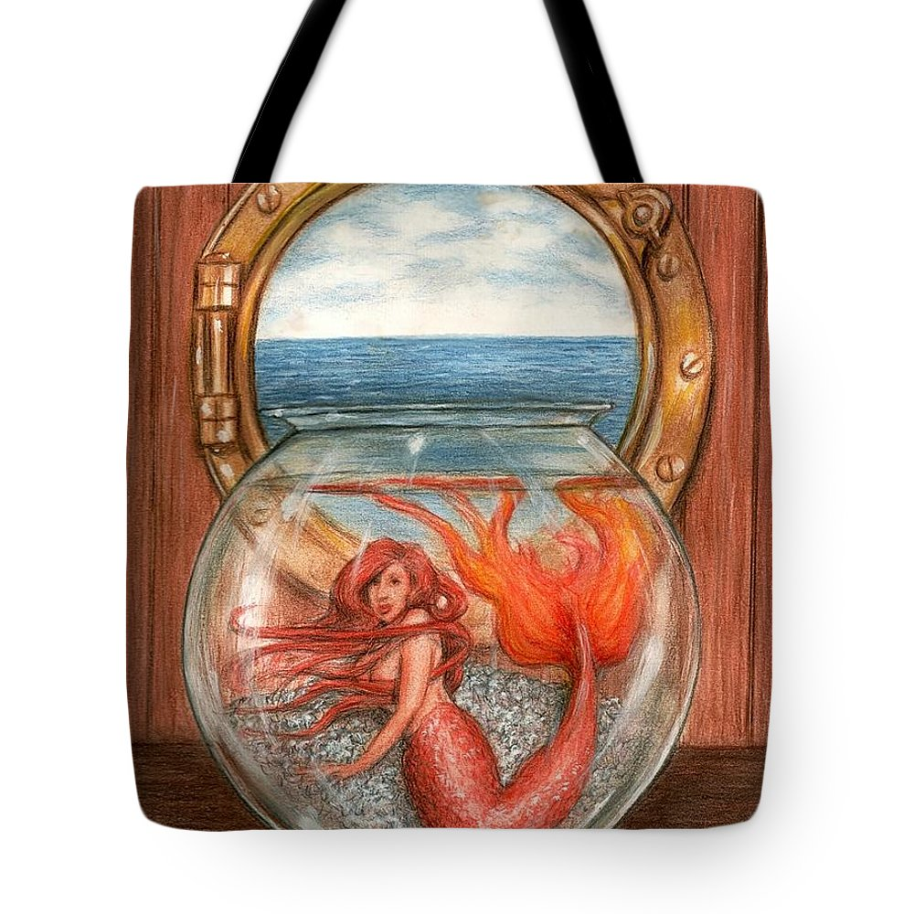 Mermaid Art Bruce Lennon Tote Bag featuring the painting Tiny Mermaid by Bruce Lennon