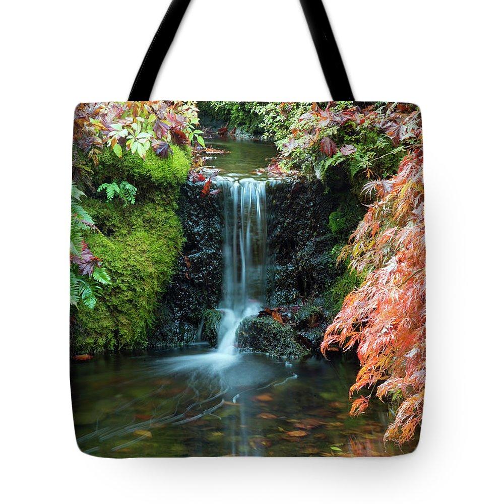 Outdoor Tote Bag featuring the photograph Tiny Waterfall In Japanese Garden.the Butchart Gardens,victoria.canada. by Andrew Kim