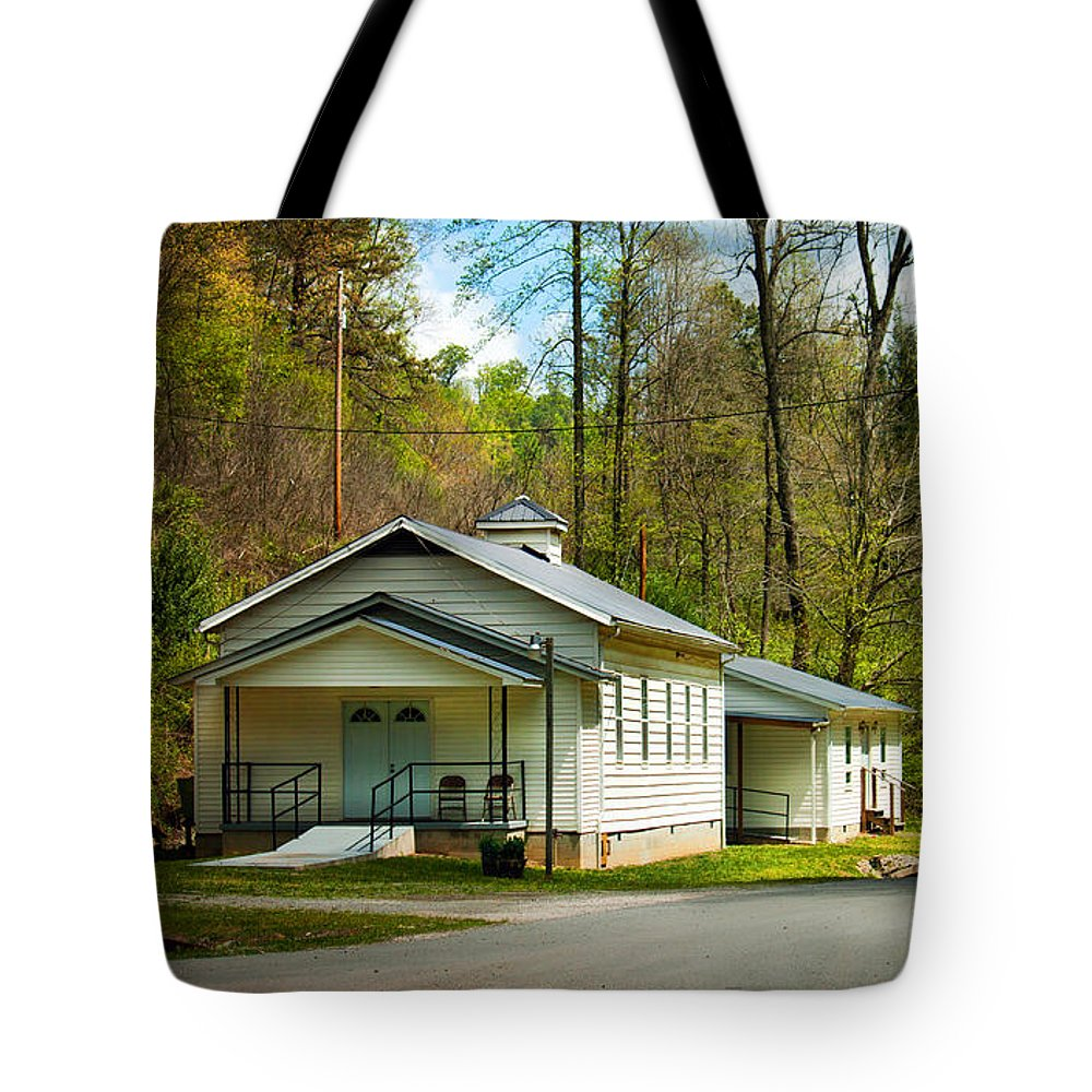Baptist Tote Bag featuring the photograph Tip Top Baptist Church by Lena Auxier
