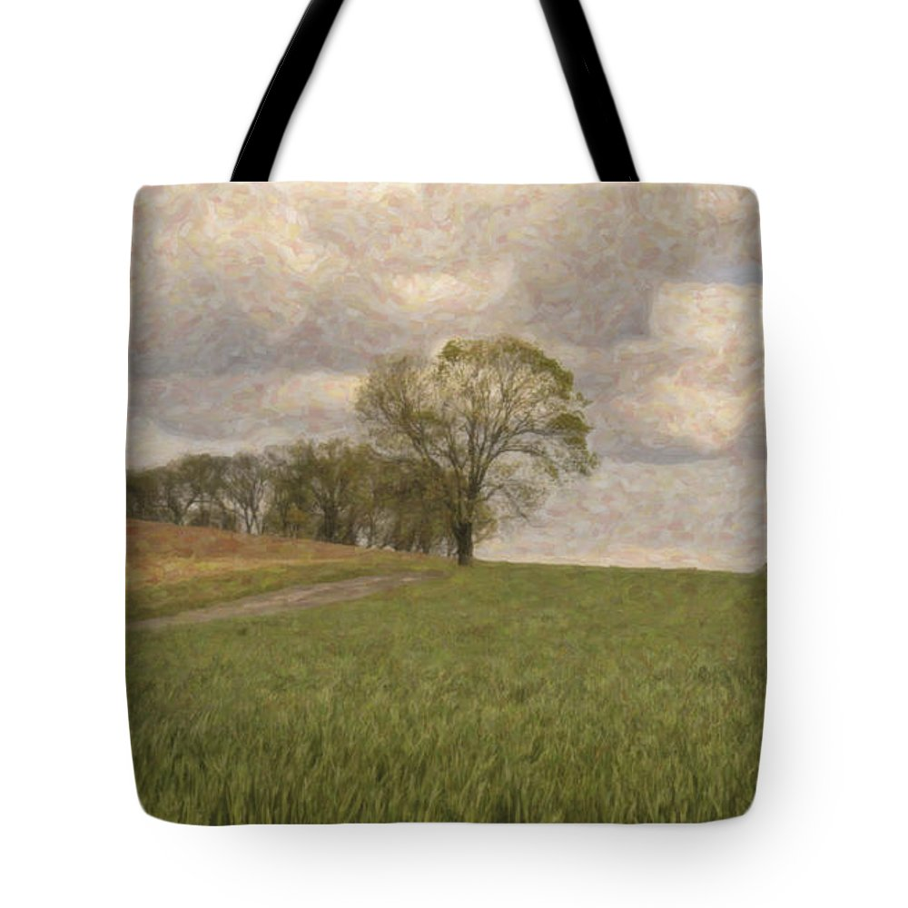 Grass Tote Bag featuring the mixed media Tired Of Being Alone by Trish Tritz
