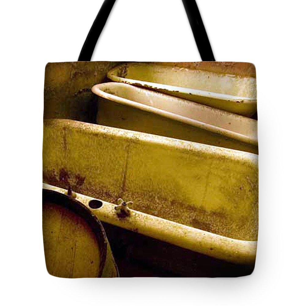 Historic Califortnia Tote Bag featuring the photograph Tired Tubs by Norman Andrus