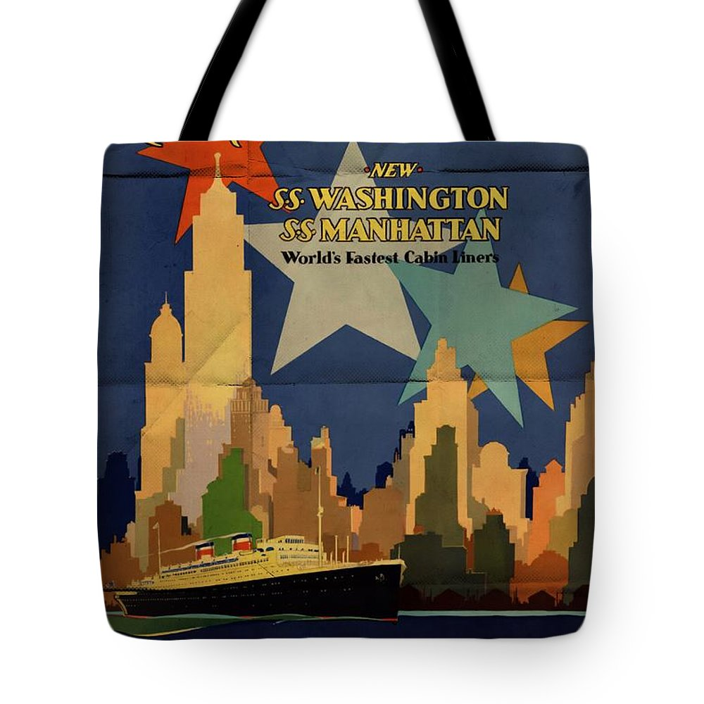 To Europe Vintage Posters Tote Bag featuring the mixed media To Europe The American Way - Folded by Vintage Advertising Posters
