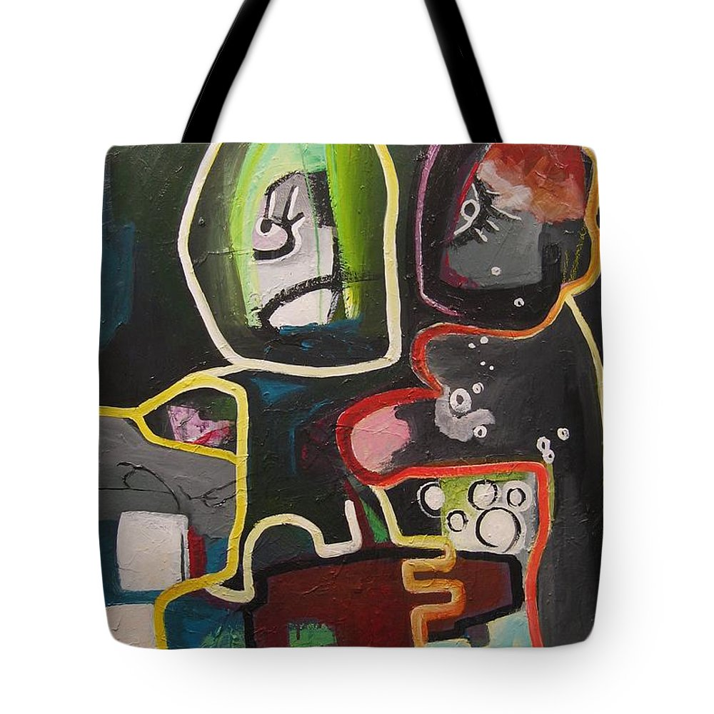 Couple Paintings Tote Bag featuring the painting To Get Along by Seon-Jeong Kim