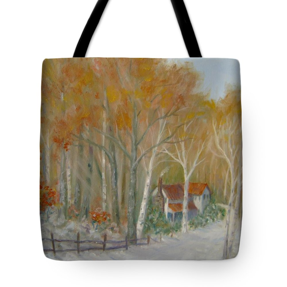 Country Road; House; Snow Tote Bag featuring the painting To Grandma's House by Ben Kiger