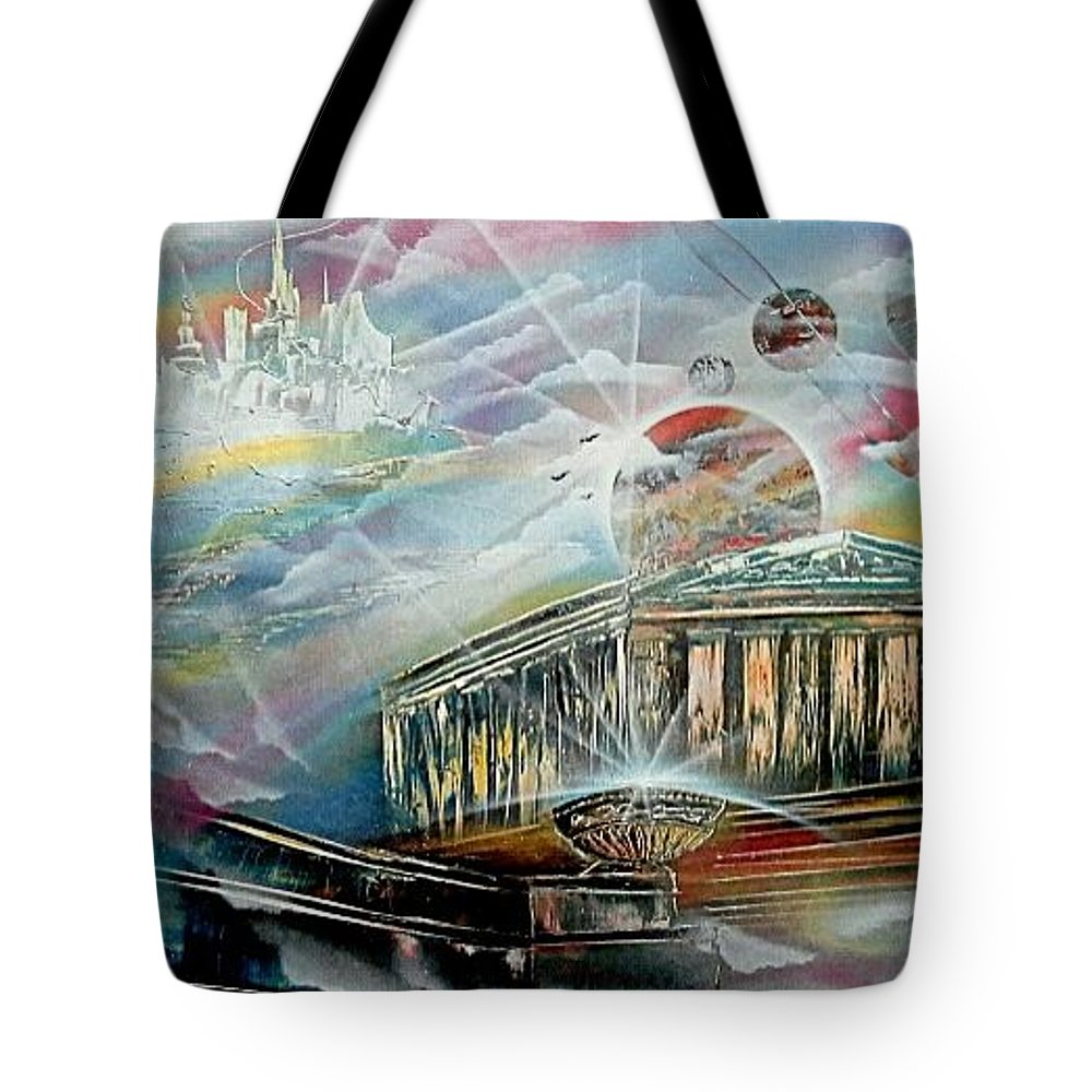 Town Tote Bag featuring the painting To Heawens by Evaldo Art