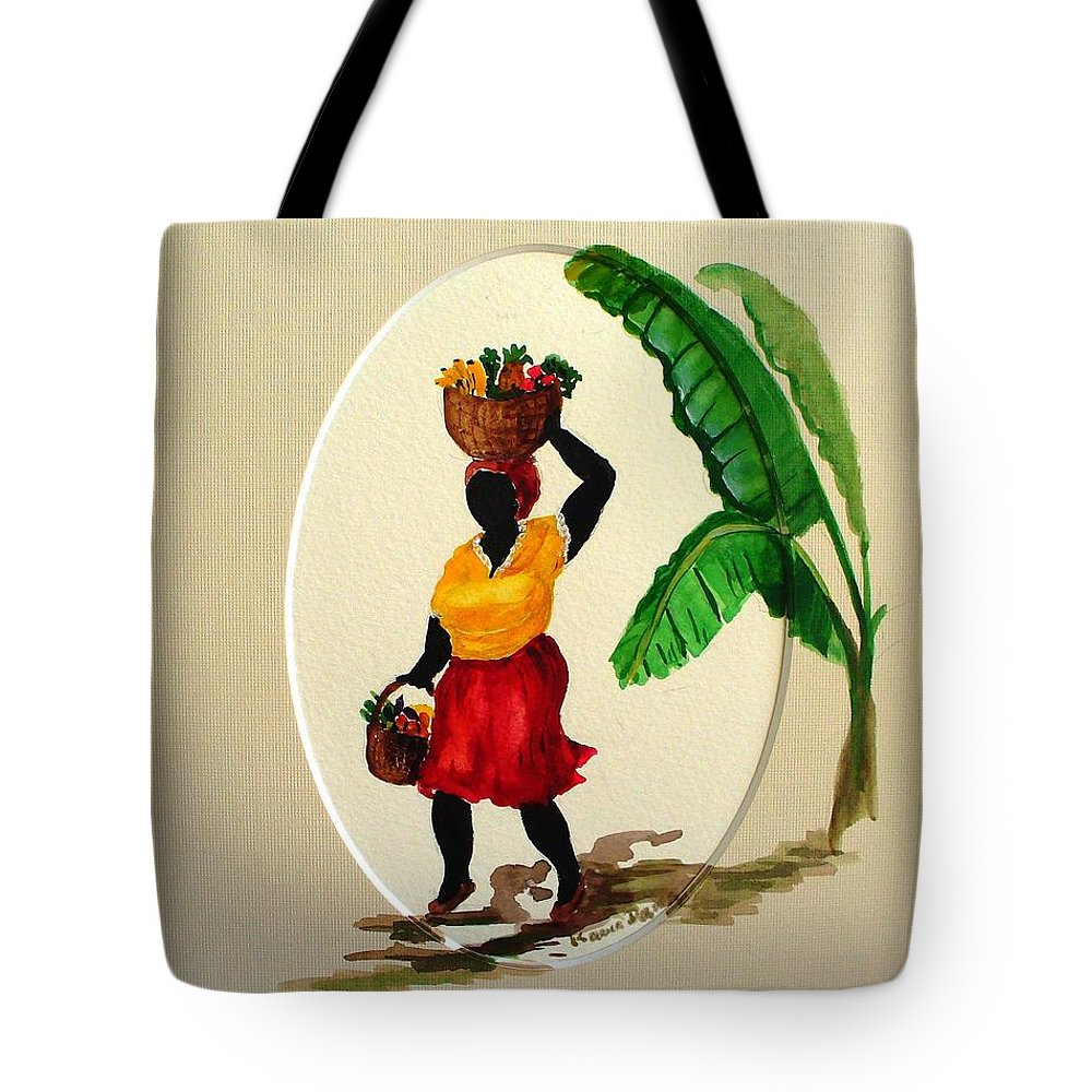Caribbean Market Womanfruit & Veg Tote Bag featuring the painting To Market by Karin Dawn Kelshall- Best
