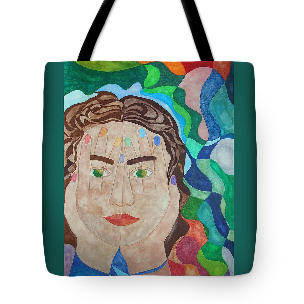Woman Girl Surrealist Surrealism Watercolor Painting Paintings Expressionist Expressionistic Color Colorful Multicolored Hands Face Eyes Lips Hair Symbolic Symbolism Figurative Tote Bag featuring the painting To See Or Not To See by Laura Joan Levine