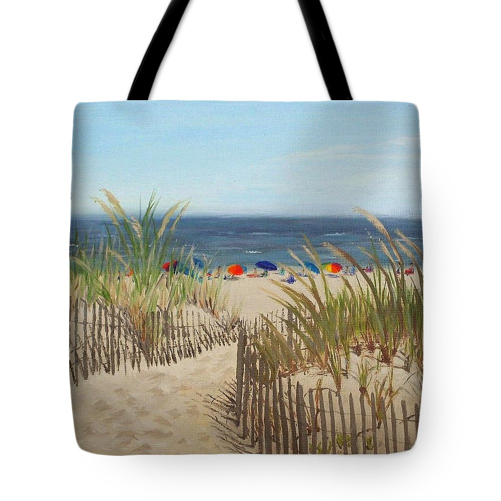 Beach Tote Bag featuring the painting To The Beach by Lea Novak