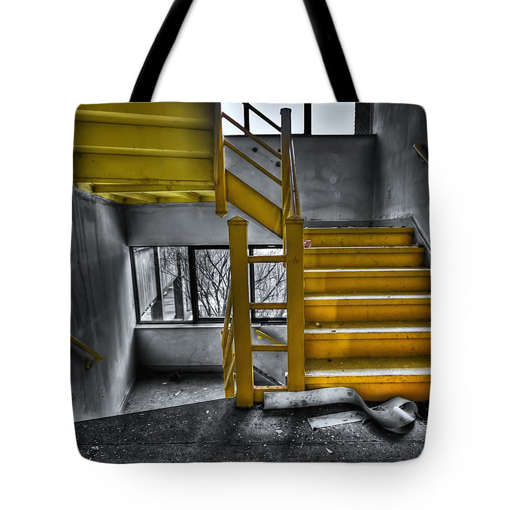 Stair Tote Bag featuring the photograph To The Higher Ground by Evelina Kremsdorf
