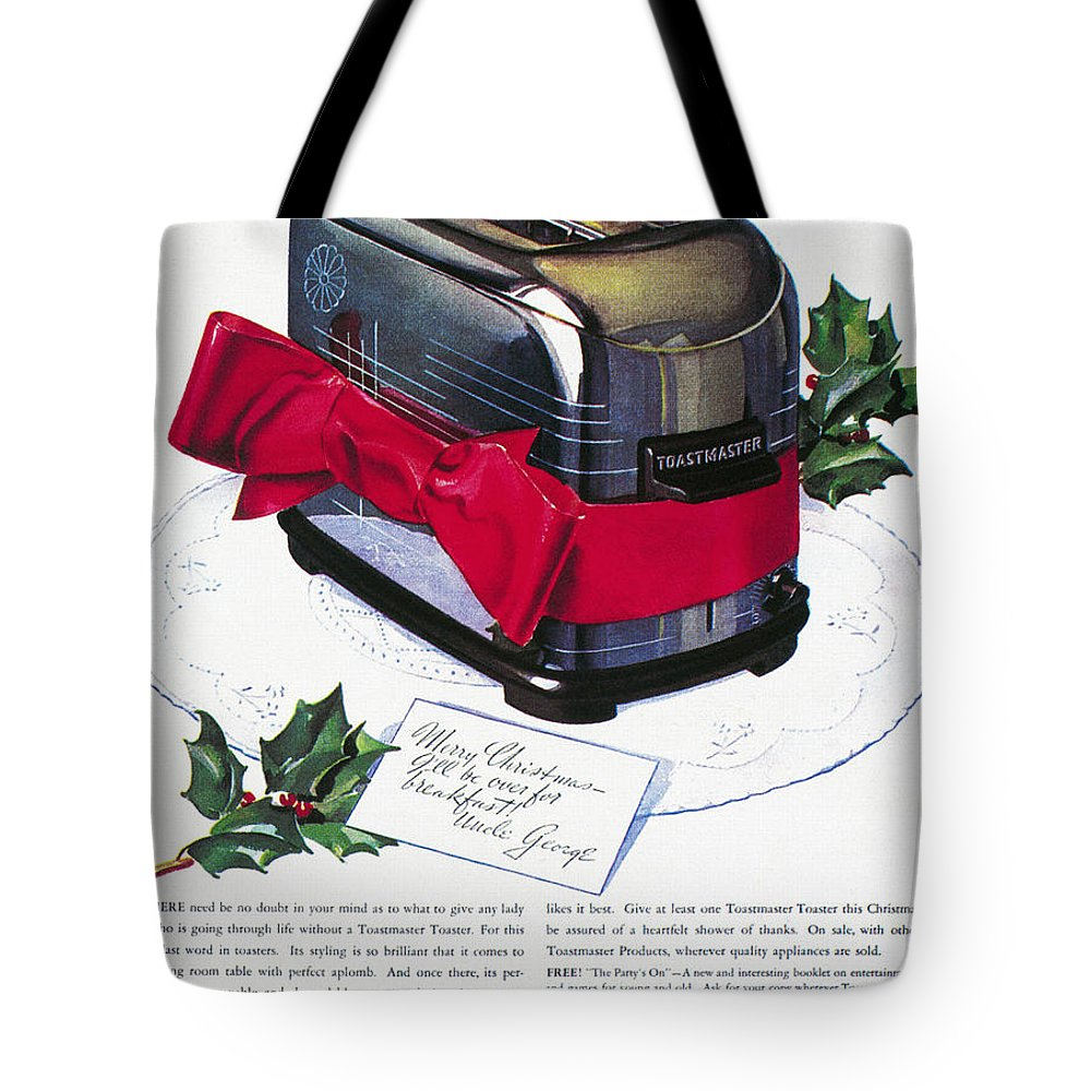 1937 Tote Bag featuring the photograph Toaster Ad, 1937 by Granger