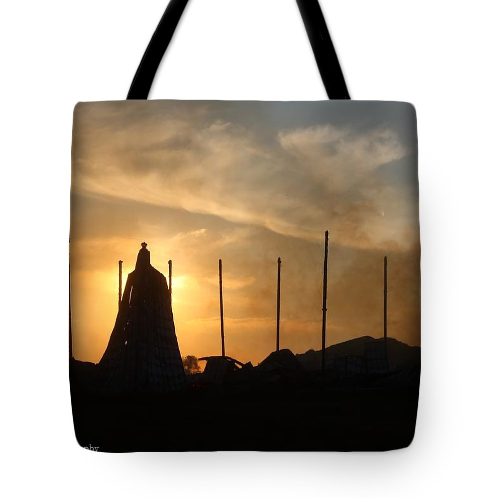 Barn Tote Bag featuring the photograph Tobacco Barn Fire II Silhouette by Angela Comperry
