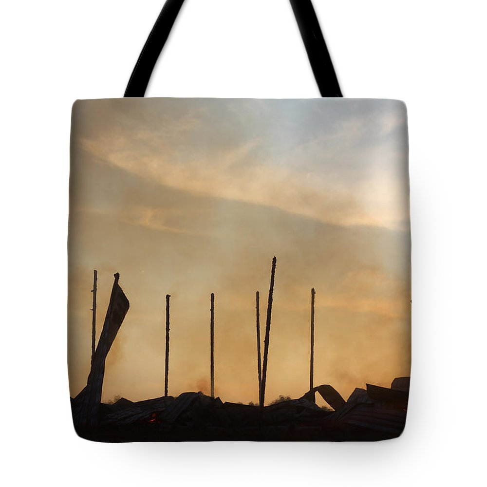 Tobacco Tote Bag featuring the photograph Tobacco Barn Fire IIi Silhouette by Angela Comperry