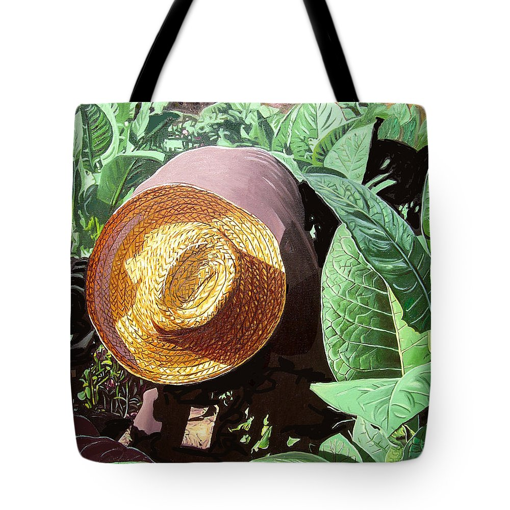 Tobacco Tote Bag featuring the painting Tobacco Picker by Jose Manuel Abraham