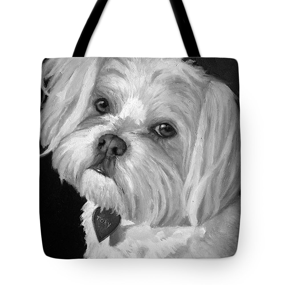 Dogs Tote Bag featuring the painting Toby by Portraits By NC