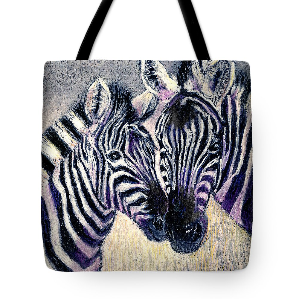 Zebras Tote Bag featuring the pastel Together by Arline Wagner