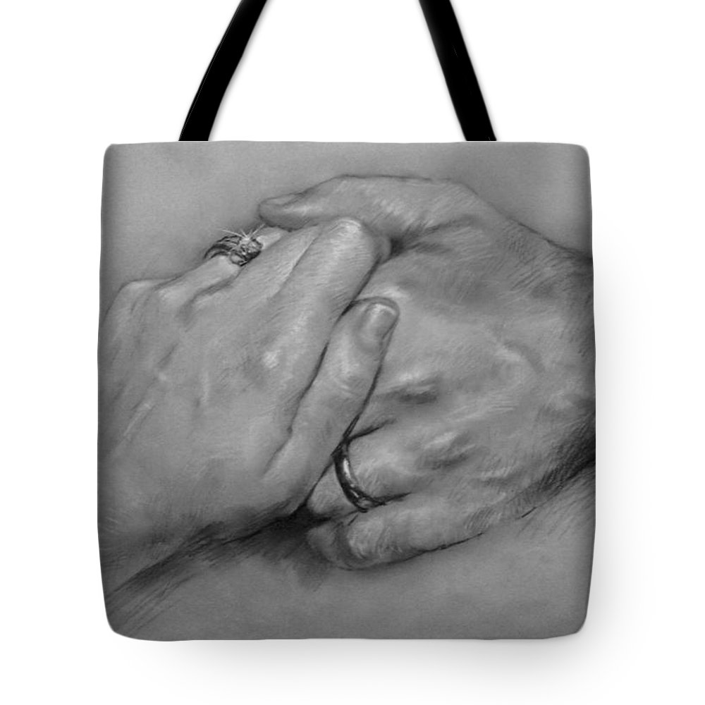 Fine Art Tote Bag featuring the drawing Together For Ever by Ylli Haruni
