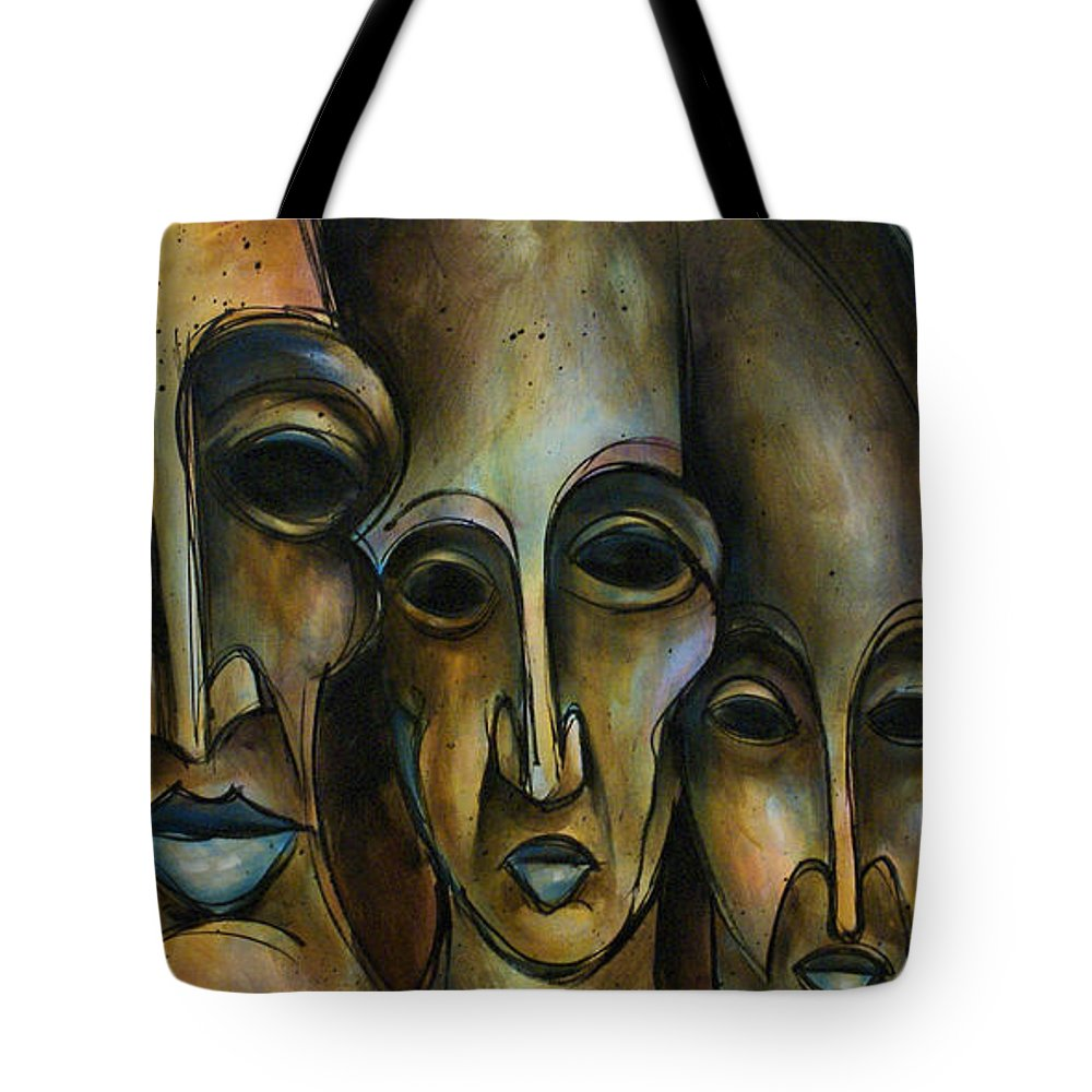 Portrait Together People Blue Modern Contemporary Expressionism Tote Bag featuring the painting Together by Michael Lang