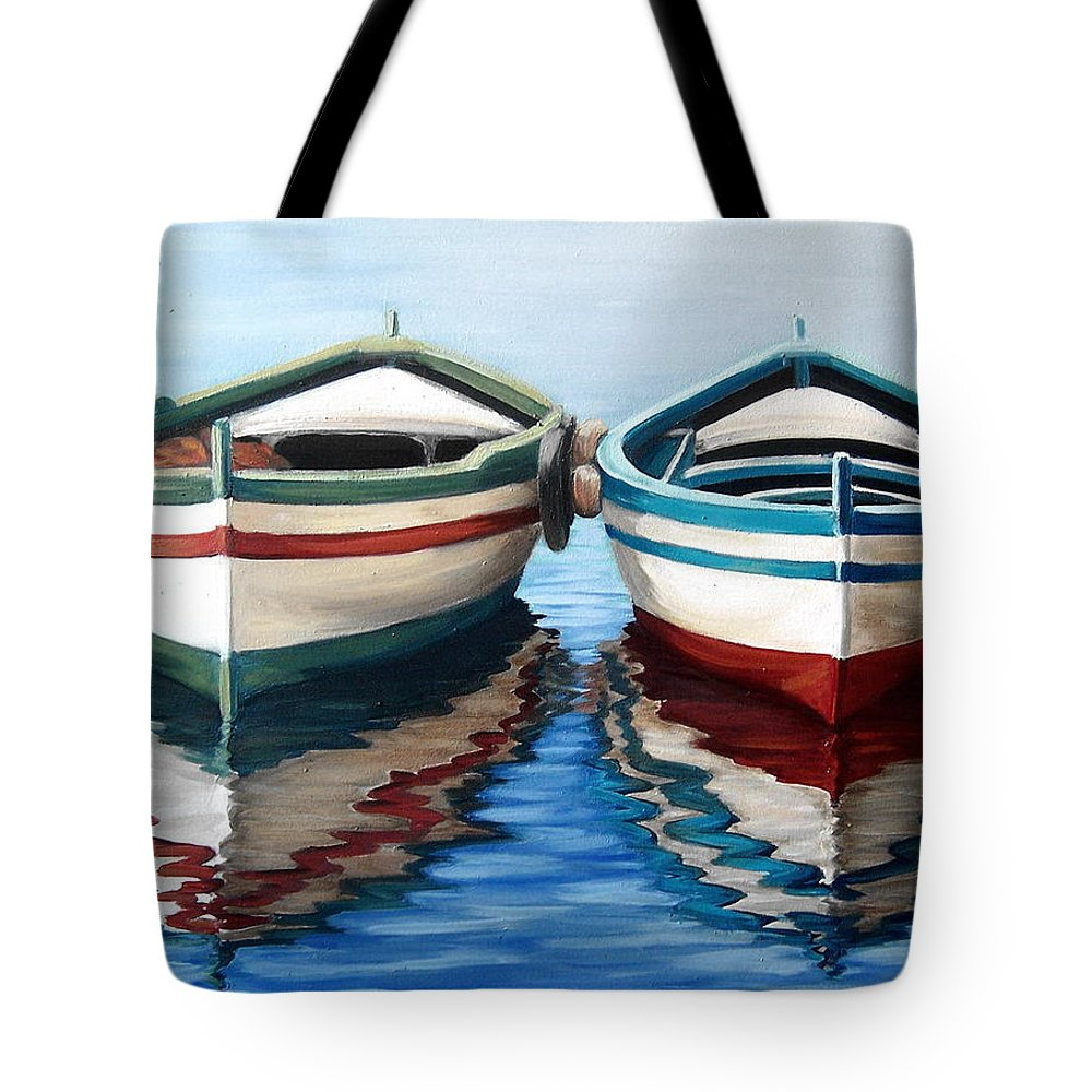 Seascape Sea Boat Reflection Water Ocean Tote Bag featuring the painting Together by Natalia Tejera