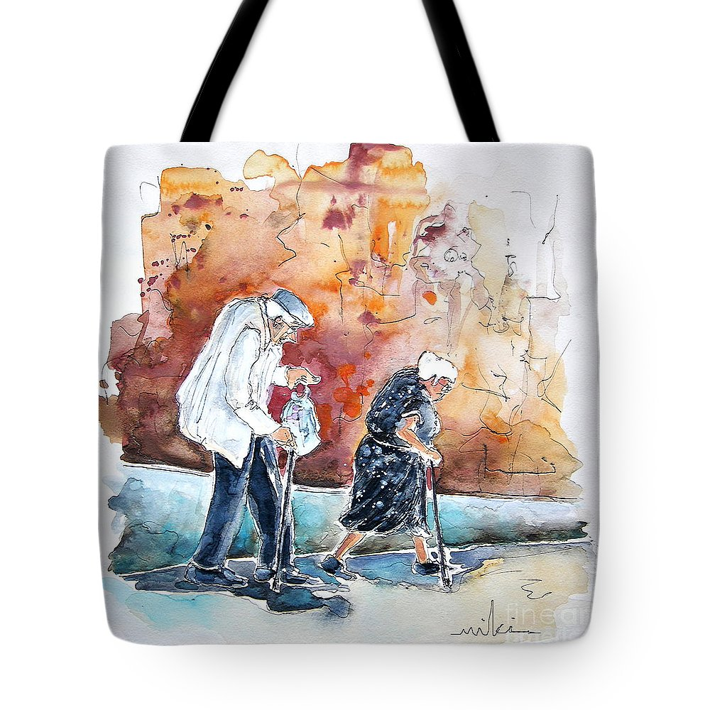 Portugal Paintings Tote Bag featuring the painting Together Old In Portugal 01 by Miki De Goodaboom