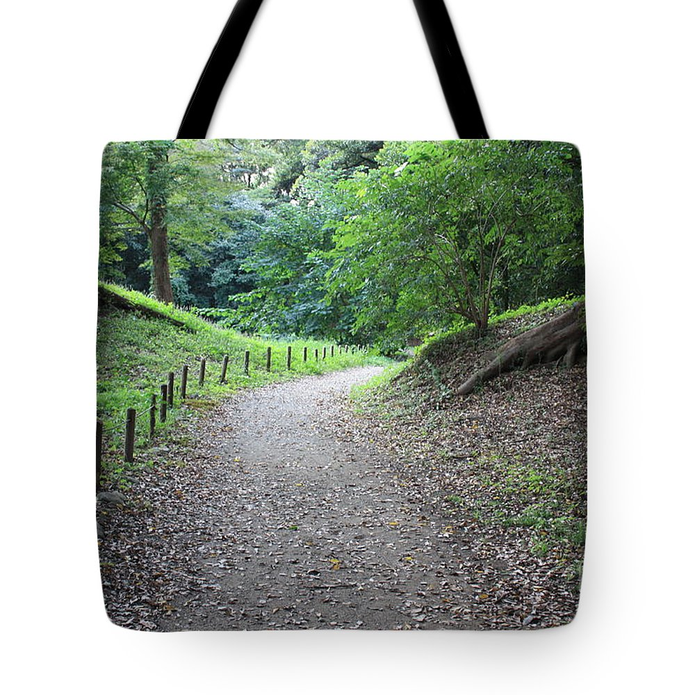 Path Tote Bag featuring the photograph Tokyo Park Path by Carol Groenen