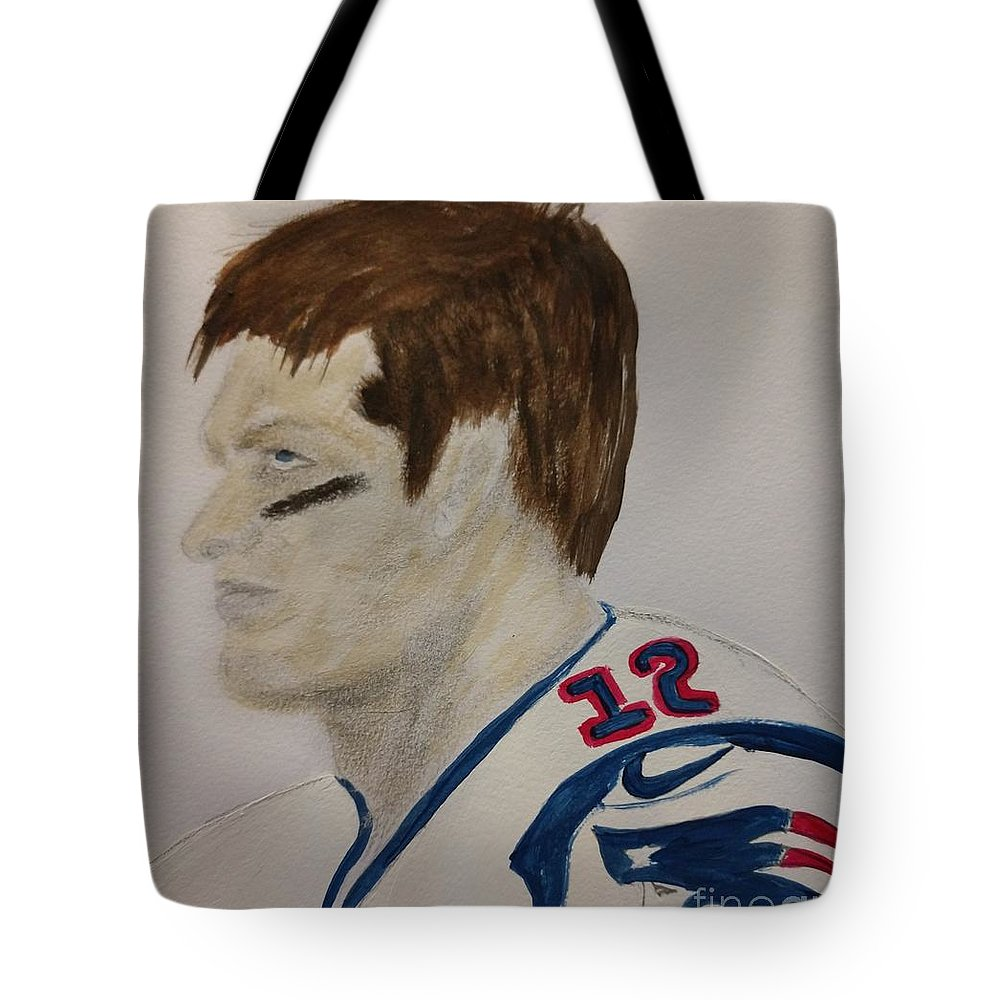 Tom Brady Tote Bag featuring the painting Tom Brady Determined by Nancy Turner