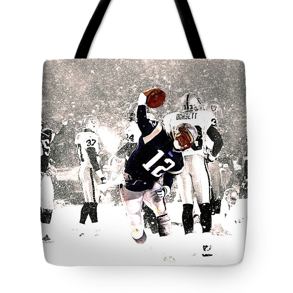 Tom Brady Tote Bag featuring the mixed media Tom Brady Touchdown Spike by Brian Reaves
