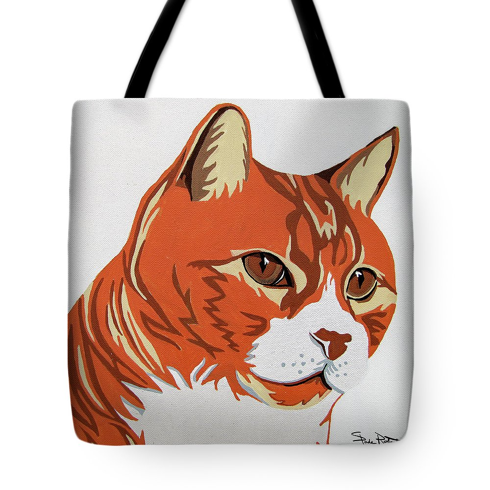 Tabby Tote Bag featuring the painting Tom Cat by Slade Roberts
