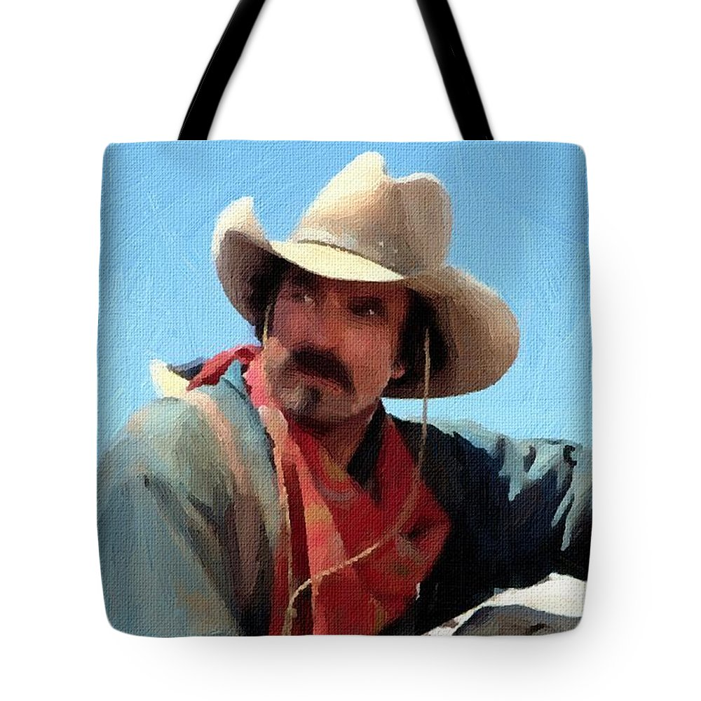 2050592f39a2d Tom Selleck Quigley Down Under Oil Painting Tote Bag for Sale by Peter  Nowell