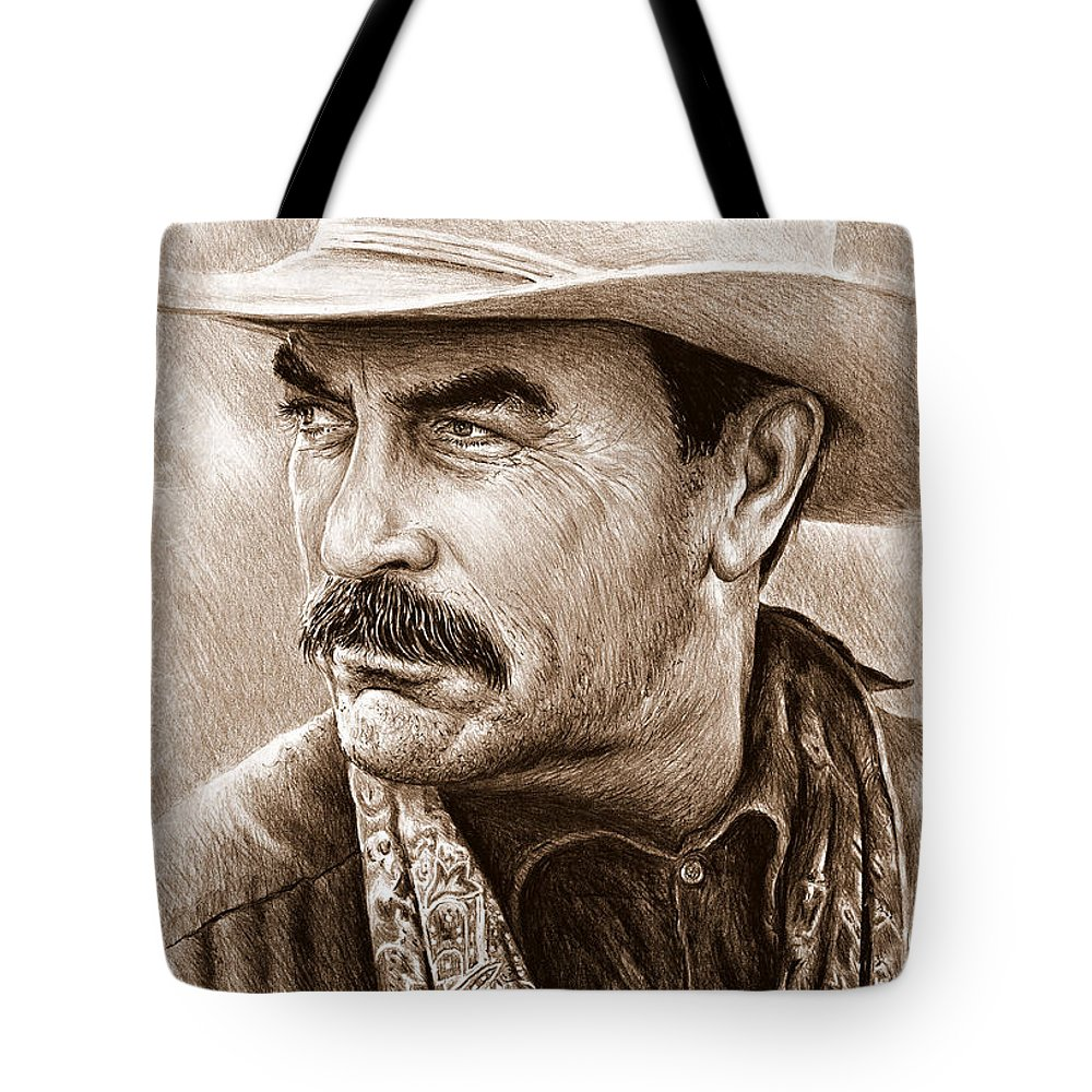 Tom Selleck Tote Bag featuring the painting Tom Selleck The Western Collection by Andrew Read