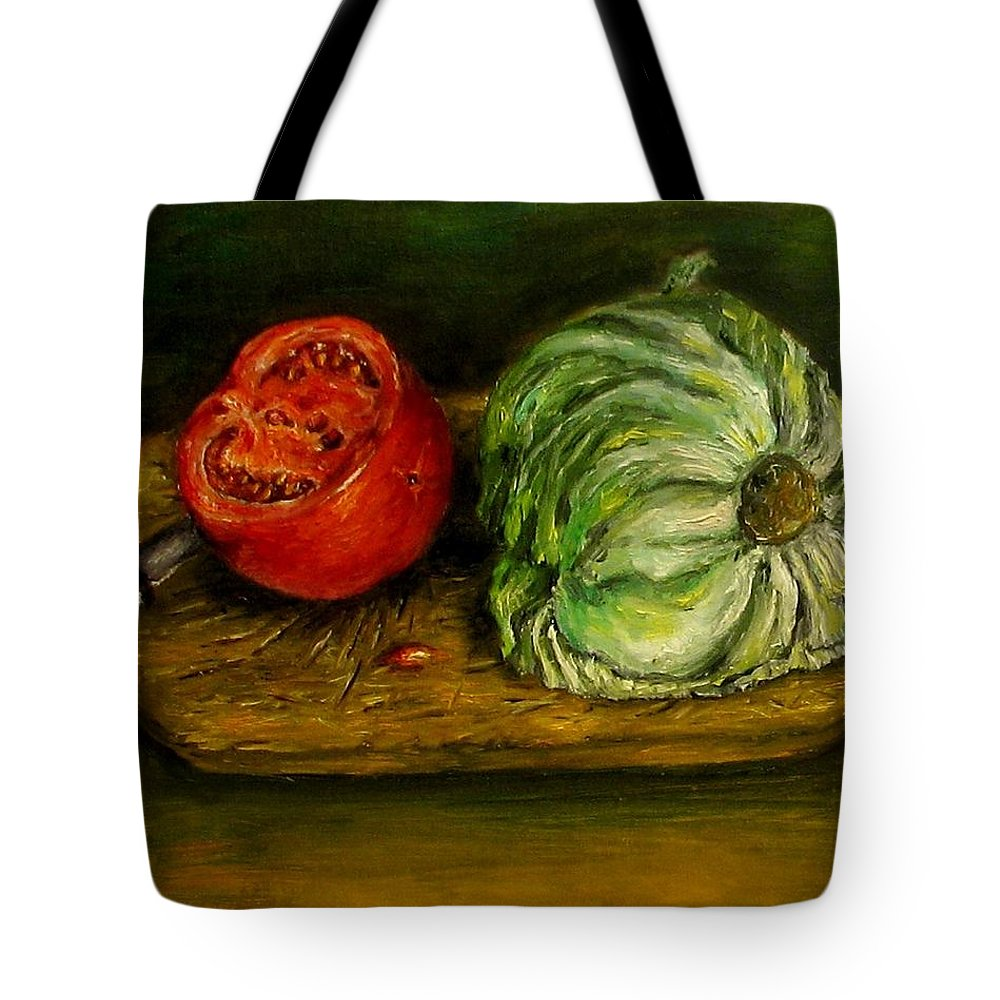 Tomatoes Tote Bag featuring the painting Tomato And Cabbage Oil Painting Canvas by Natalja Picugina