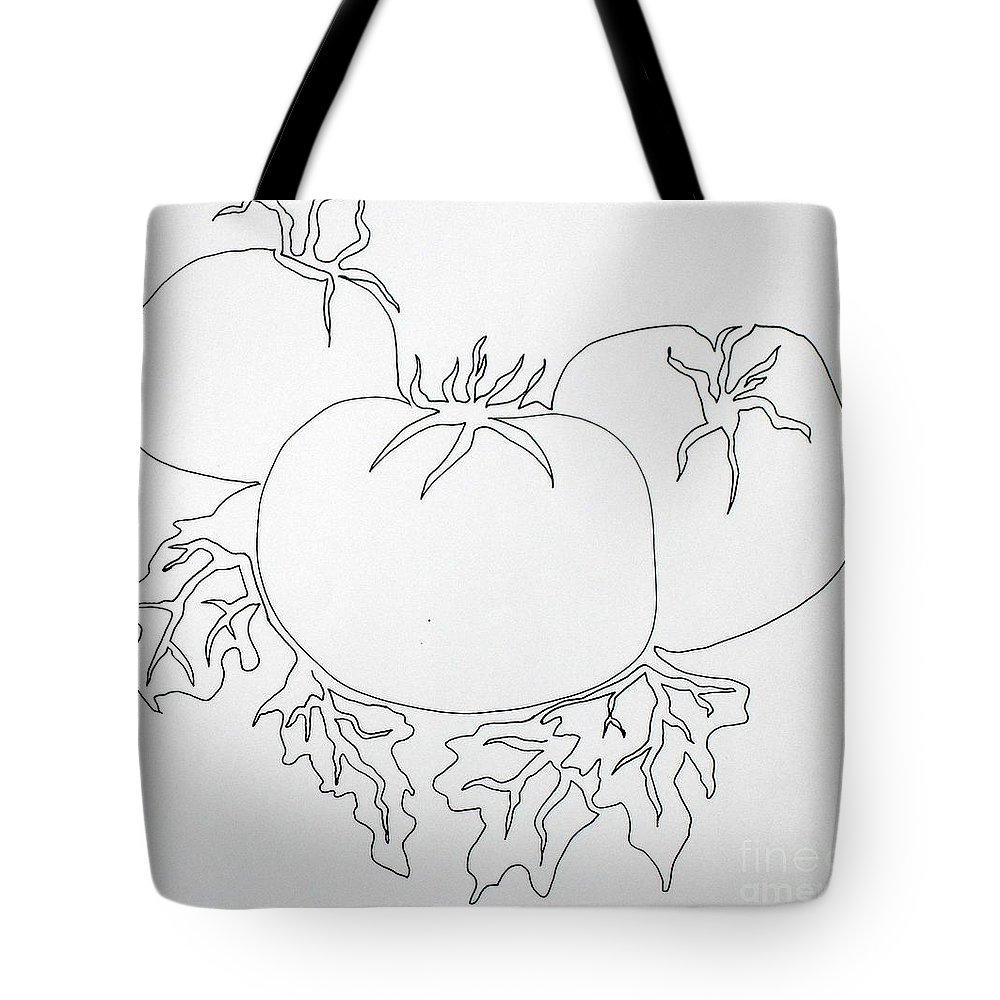 Drawing Tote Bag featuring the painting Tomatoes On A Vine In One Line by Vicki Housel
