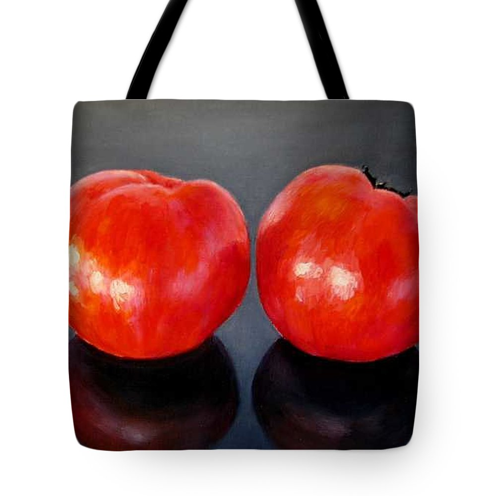 Tomatoes Tote Bag featuring the painting Tomatoes Original Oil Painting by Natalja Picugina
